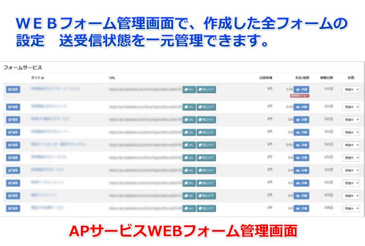 APメールWEBフォーム管理画面で作成したWEBフォーム設定状態 メール送信受信状態を一元管理できます。